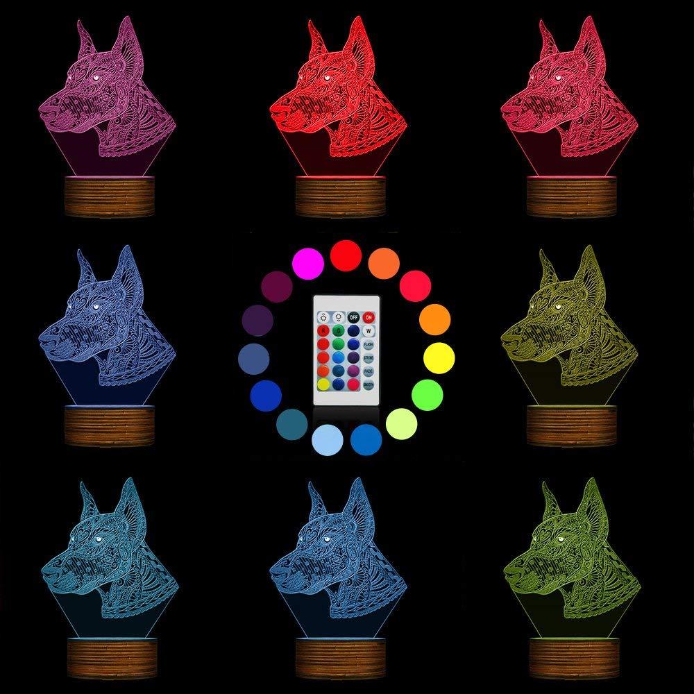 b050db9934 ... Chengyd Lámpara de 3D LED LED LED Ilusión óptica Luz de la Noche del  Perrito