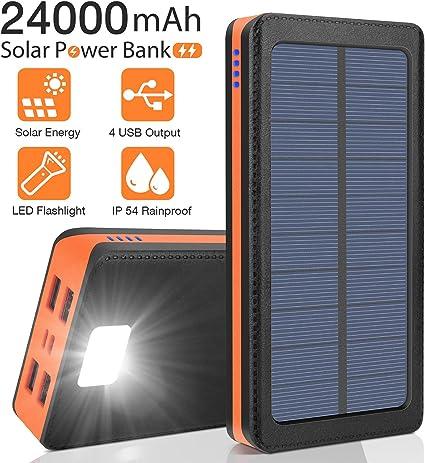 Amazon.com: Cargador solar portátil de 24000 mAh, batería ...
