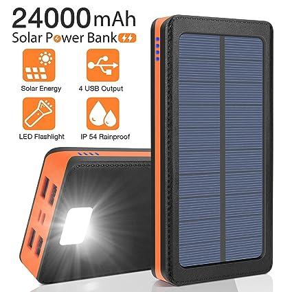 Amazon.com: AMAES Cargador solar de 24000 mAh, batería ...