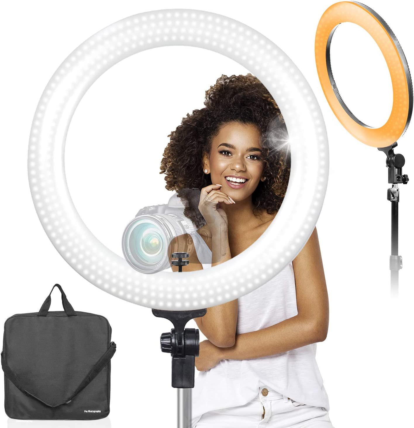 LimoStudio LED 18 inch Ring Light 3200K–5600K and Dimmable with Camera Adapter & Monopod Tripod Mount Clip Cellphone Holder, AGG2396V2 71lWD2BeDOjLSL1500_