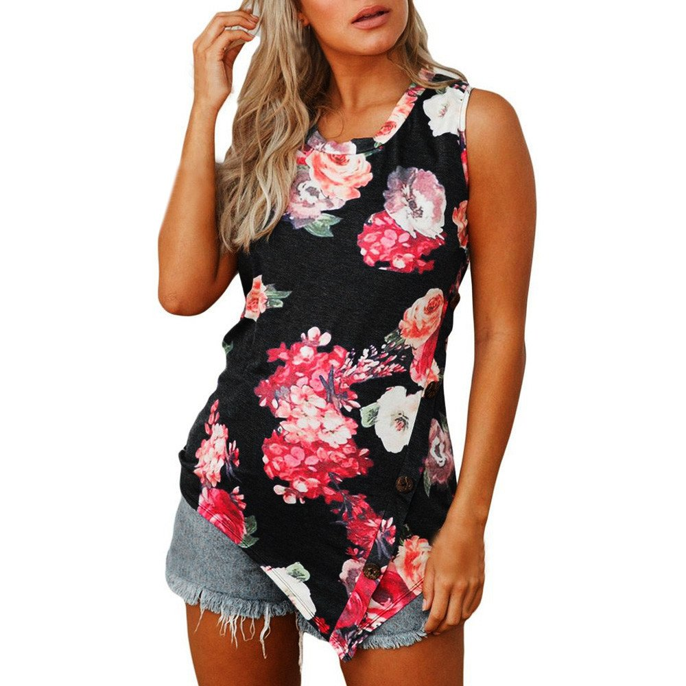 Blouse for Women T shirt for Women Women Summer Print Sleeveless Round Neck Button T-shirt Tank Top Blouse Saree Mesh Triangle Tops Sleeveless Zippe Hollow Red