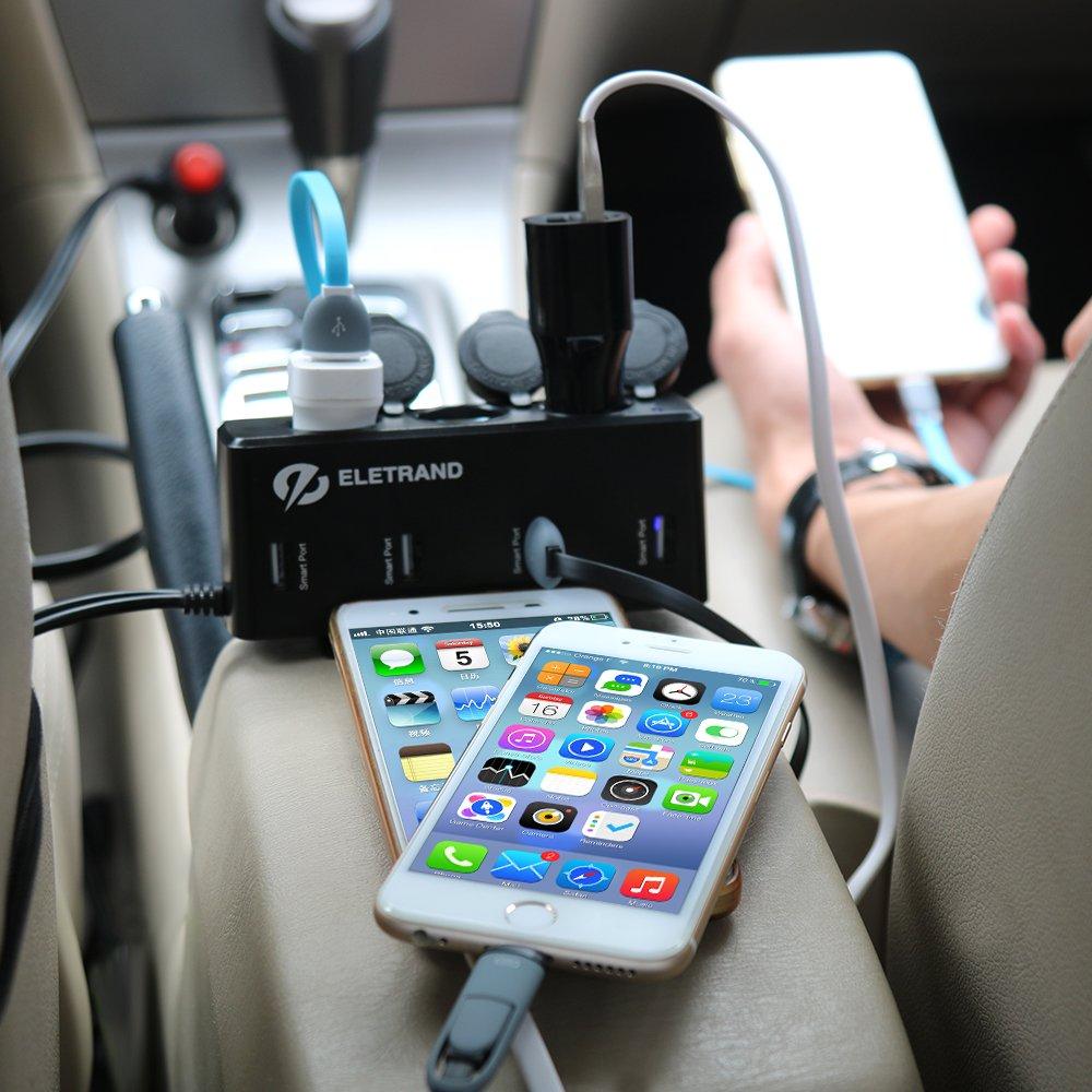 Tablets GPS Eletrand 12V // 24V Cargador de Coche Adaptador de Mechero con 4 Puerto USB y 3 Encendedores para T/élefono M/óvil MP3 etc Con Cable de 90CM