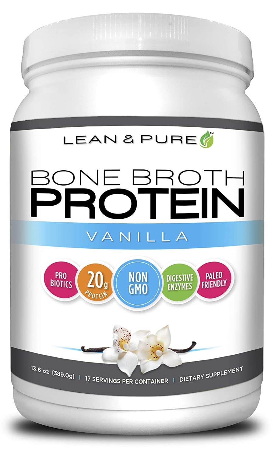 Lean Pure Bone Broth Protein Powder, Non GMO, 20g of Protein, Low carb, Paleo Friendly, Vanilla Flavor, 389g