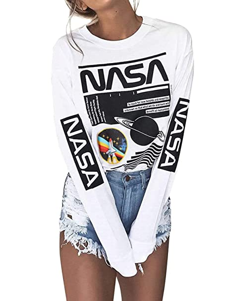 1473a30ac0d952 Haircloud Women Casual Long Sleeve White NASA Letter Print Round Neck  Pullover Sweatshirt S