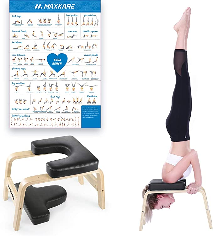 Upside Down Chair for Family Back Pain Relief KGK Yoga Headstand Bench,Stand Yoga Inversion Bench Stool for Handstands Yoga Meditation Chair Workout,Gym
