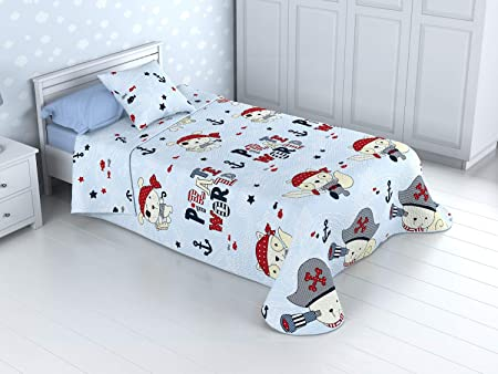 Cabetex Home - Colcha Bouti Infantil Reversible 100% con Funda de cojín y Tacto algodón Mod. BUCANERO (Cama de 90 cm (180_x_260 cm)): Amazon.es: Hogar