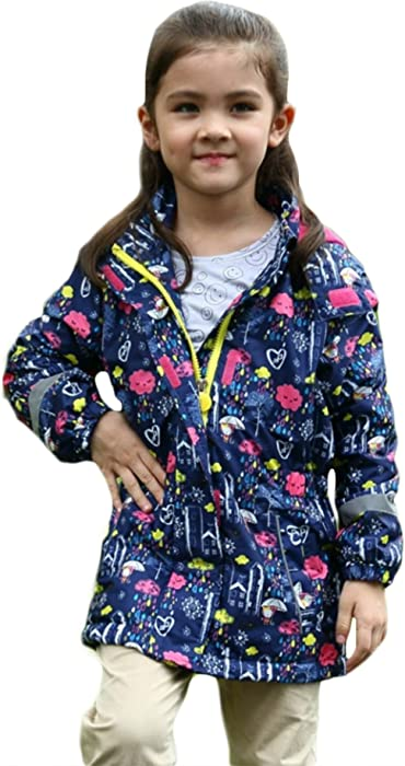 bf3e13aebd7d EGELEXY Kids Girl Flower Print Hooded Waterproof Raincoat Jacket Coat size  4T (Blue)
