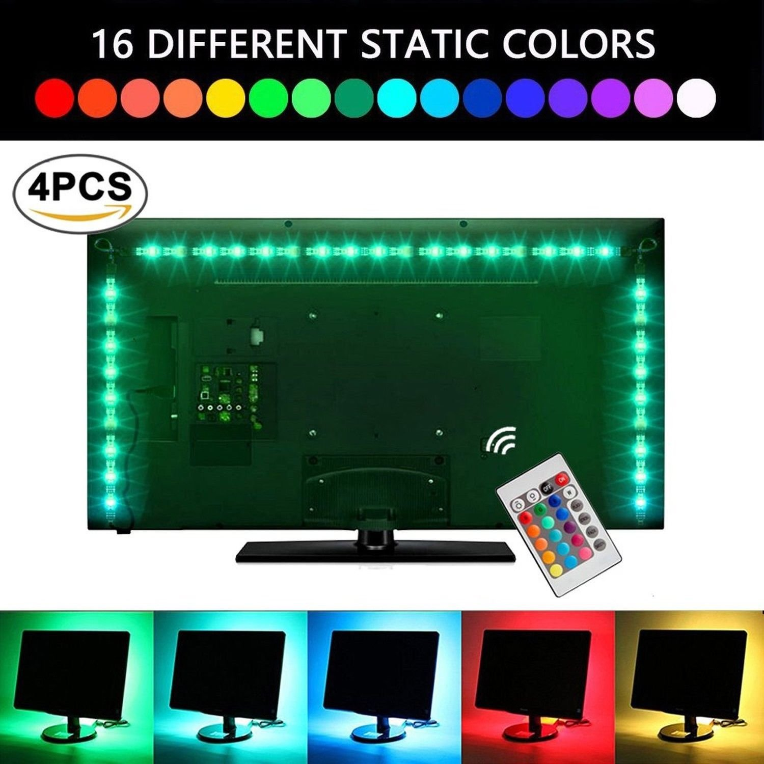 USB TV Backlight Strip,UNPOPULAR Waterproof Bias Tape Lighting Lights Kit (4x50CM) With Remote Control Multi-Color 5050 RGB For Flat Screen Desktop Monitors PC For 40-60 inch HDTV (USB Backlight Kit)