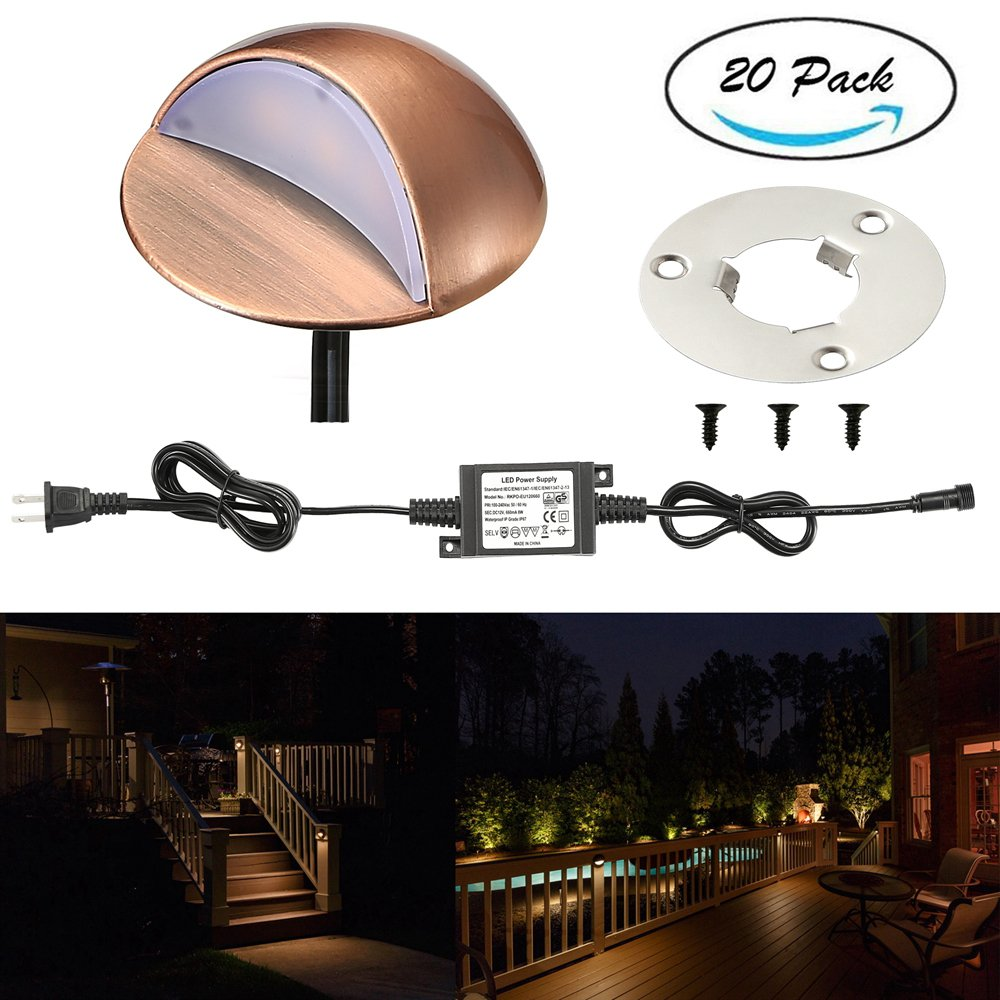 LED Deck Lights Kit, FVTLED Pack of 20 Low Voltage LED Step Stair Lights Φ1.97'' Outdoor Garden Yard Decoration Lamp Recessed Landscape Pathway Step Stair Warm White LED Lighting, Bronze