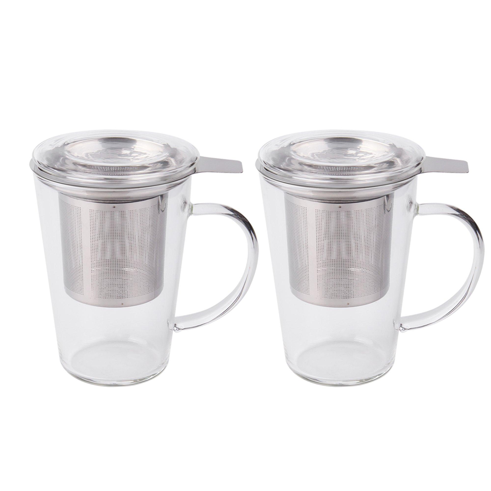Fashion Simple Style Tea Mug with Infuser and Lid Glass Tea Cup 14 OZ (Glass set of 2)