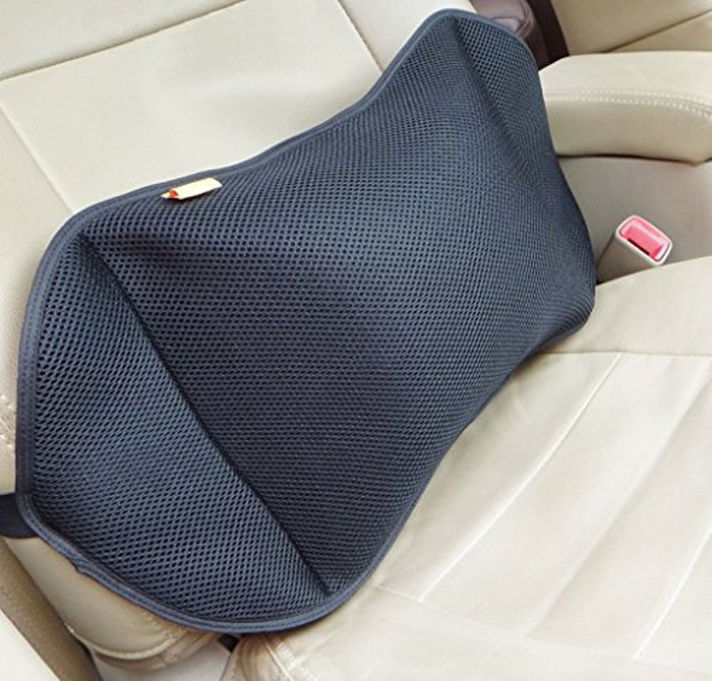 CTHOPE Air Inflatable Cushions Back Lumbar Support Portable Pillow with Pump for Car, Home, Office, Travel, Camping Mesh Pillow Case Removable (Black)