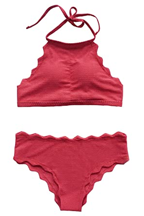 4c3e636f87 Amazon.com: CUPSHE Women's Solid Color Halter Padding Bikini Set Bathing  Suit,Red,Medium: Clothing