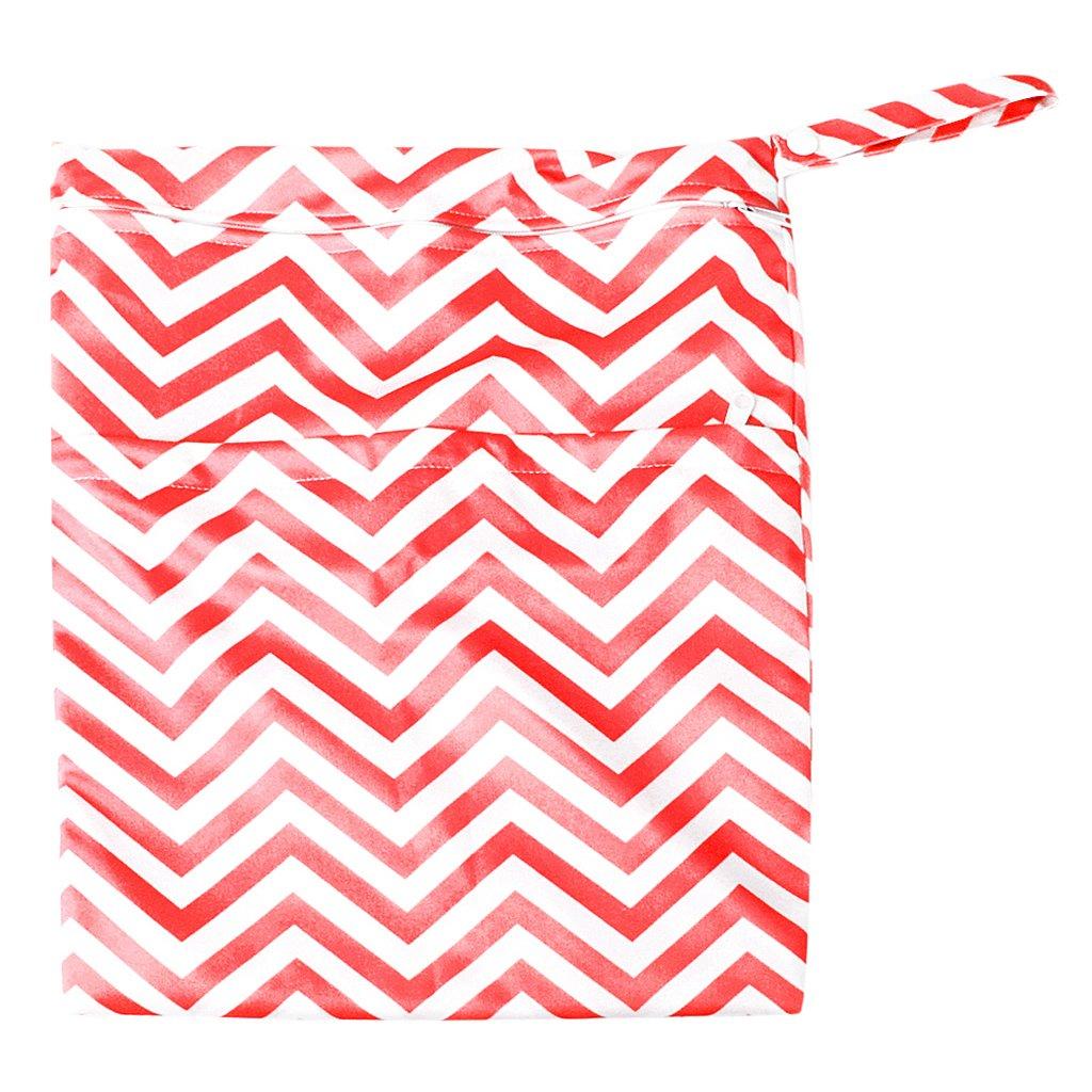 Sac /à Couches Lavables pour B/éb/é R/éutilisable Etanche Zipp/é Rouge et Blanc