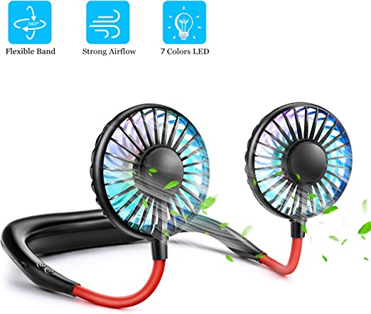 White Color : Black Neck Fan-Portable Hands-free Fan Neck Hanging Fans USB Charging Outdoor Mini Fan for Outdoor Sports Office