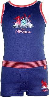 Schiesser - Unterwäschset Hemd und Boxershorts Jungen, dunkelblau