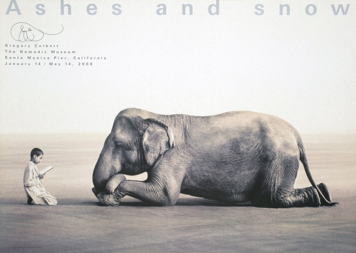 Gregory Colbert-Boy Reading with Elephant-2005 Offset Lithograph-SIGNED