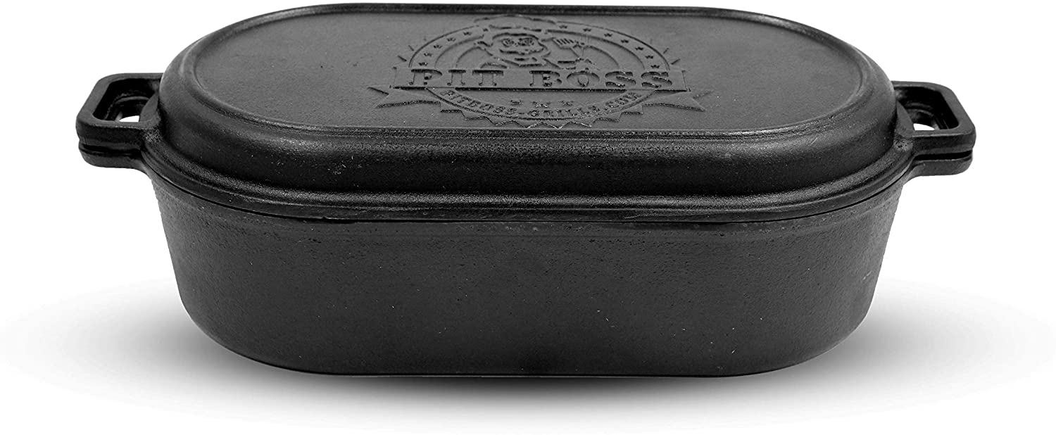 PIT BOSS 68014 6qt Cast Iron Roaster and Griddle Lid, Black