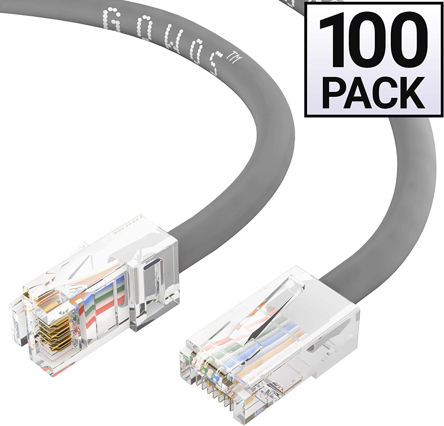Computer Network Cable with Bootless Connector UTP RJ45 10Gbps High Speed LAN Internet Patch Cord 5 Feet - Gray Cat5e Ethernet Cable Available in 28 Lengths and 10 Colors GOWOS 20-Pack