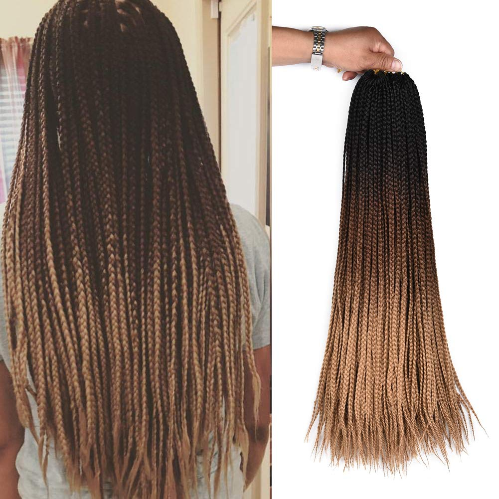 Amazon Com Alirobam 6packs 24inch Hand Made Small Box Braids Crochet Braiding Hair Extensions Ombre Kanekalon Synthetic Crochet Braids For Black Women 22strands Pack 3s Box Braids Black Dark Brown Light Brown Beauty