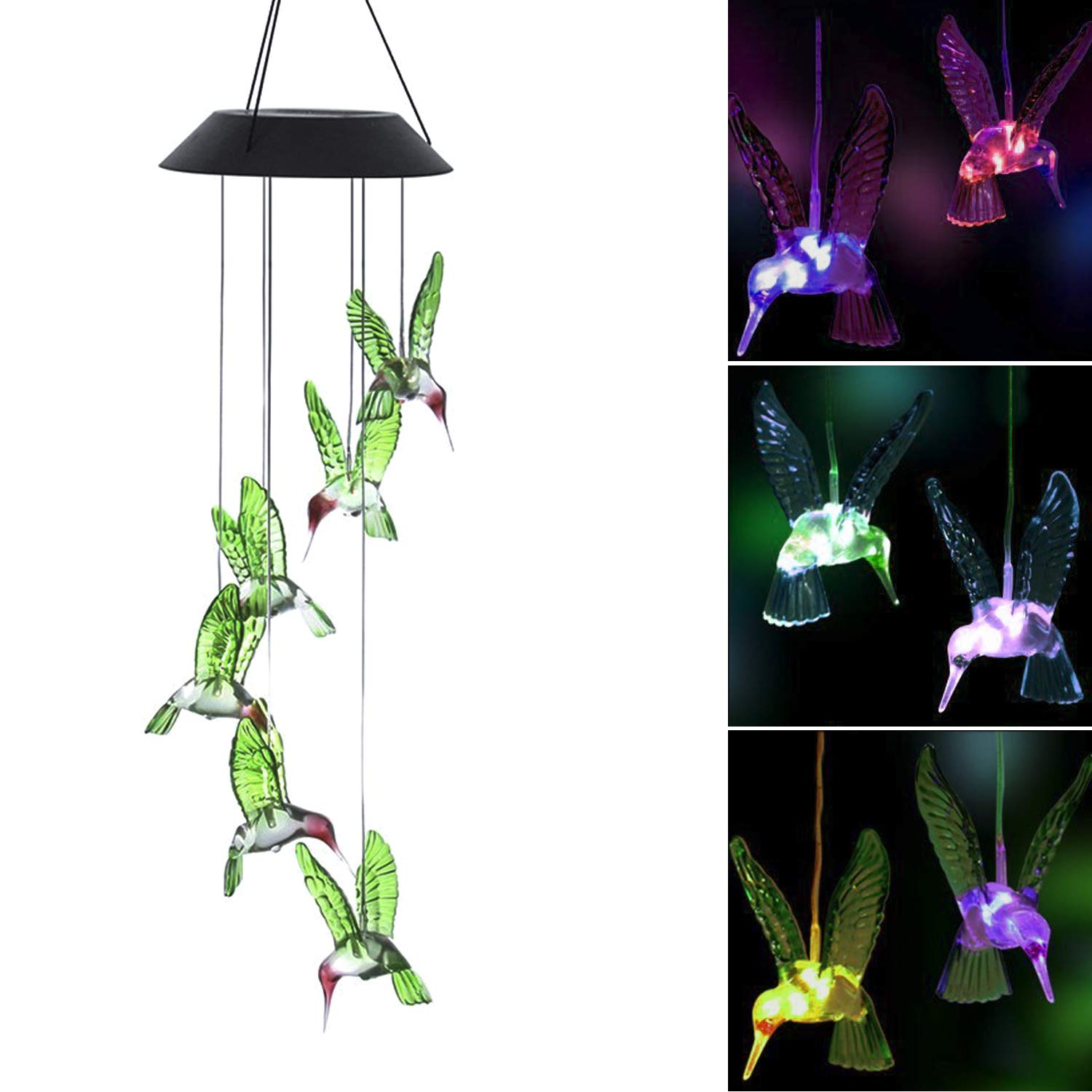 Solar Powered Wind Chimes,Suniness LED Solar Mobile Wind Chime,Color-Changing Waterproof LED Hanging Lamp Wind Chime for Outdoor Indoor Gardening Lighting Decoration Home (Hummingbird)