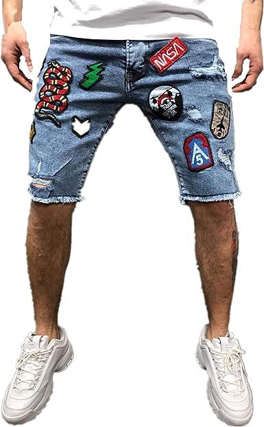 ZOELOVE Pantalones cortos Pantalones Cortos Vaquero Hombre Bermudas Cargo Mezclilla De Casuales Verano Elástico Cómodo Jeans Retro Shorts Mezclilla de Cinco Puntos: Amazon.es: Ropa y accesorios