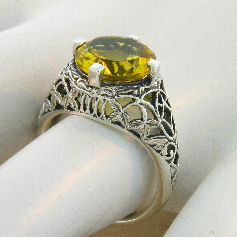 4 CT LAB Citrine Antique Filigree Design 925 Sterling Silver Ring Size 6 KN-4028