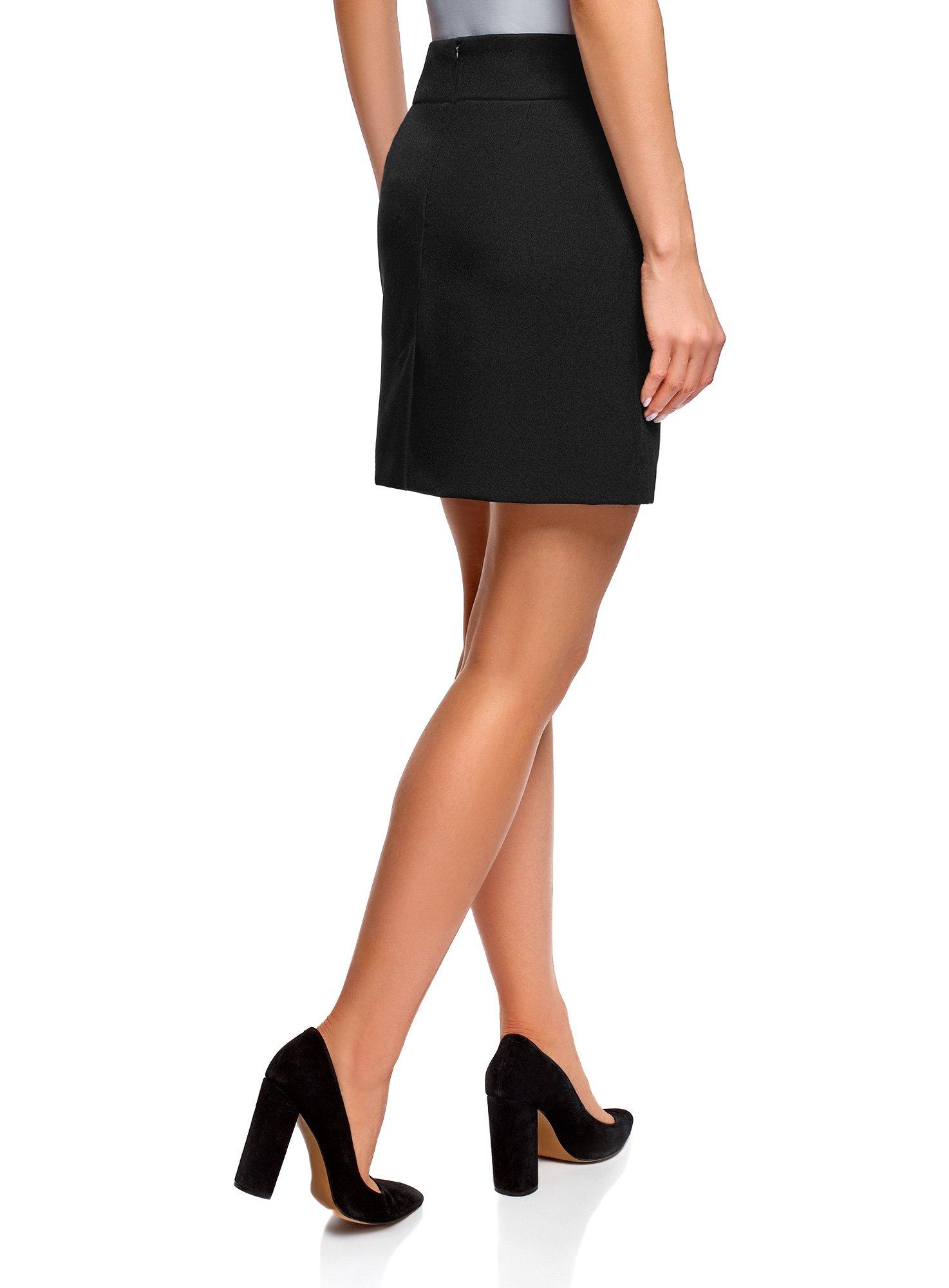 oodji Ultra Women's Basic Short Skirt, Black, 6 by oodji (Image #3)