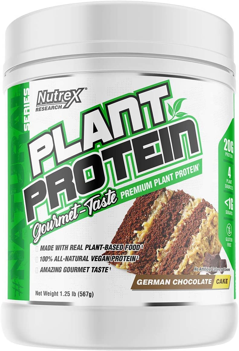 Nutrex Research Plant Protein Great Tasting Vegan Plant Based Protein No Artificial Flavors, Colors, or Sweeteners, Gluten Free, Lactose Free 18 Servings German Chocolate Cake