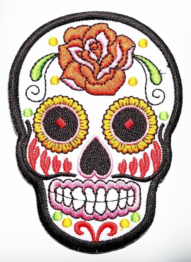White Sunny Buick Rose Sugar Skull Patch Embroidered Iron on Hat Jacket Hoodie Backpack Ideal for Gift/ 6.5cm(w) X 9cm(h) by Think Patch skull   B00KOLQIPQ