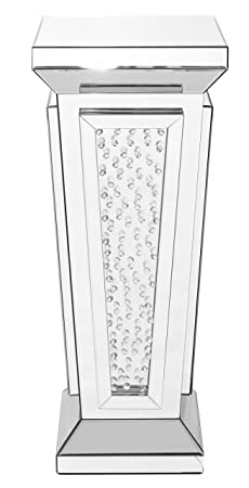 Decor Central ADMFX9-3063 Crystal End Table with Square Mirror Top, 15 , Clear Finish