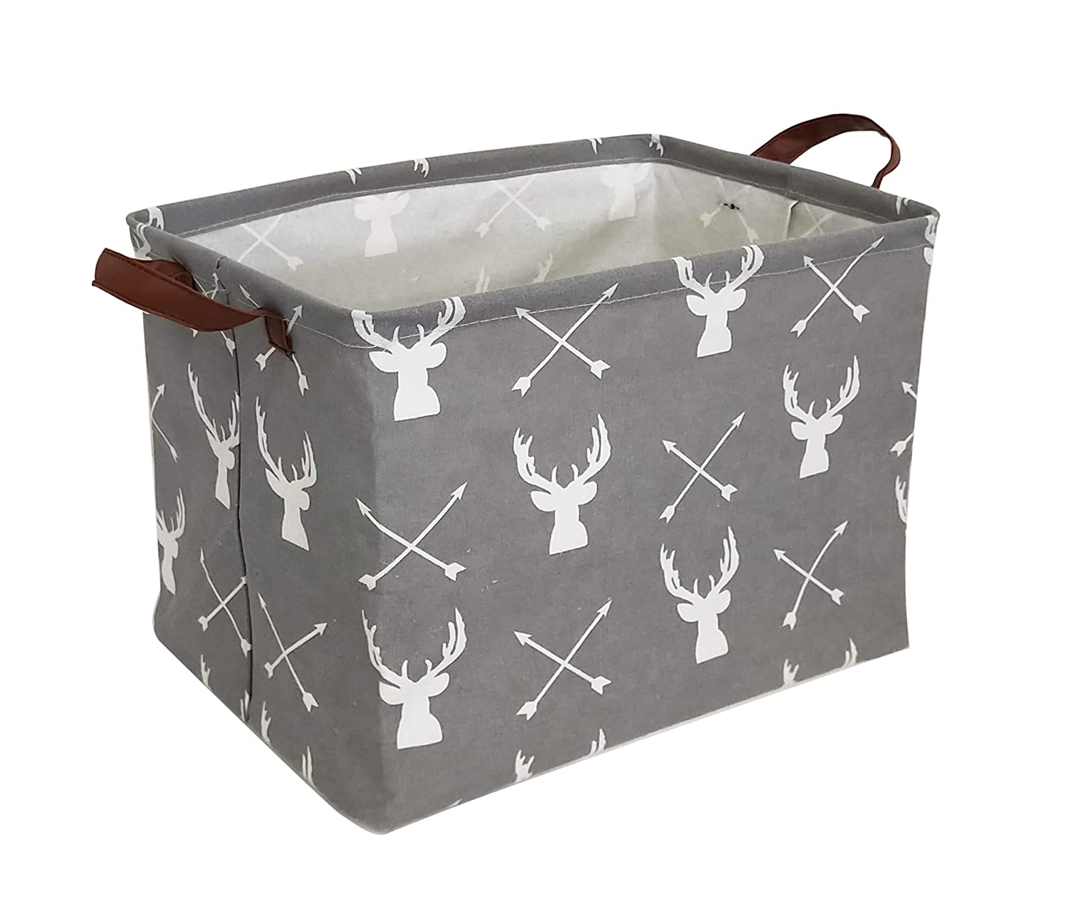 HIYAGON Rectangular Storage Box,Fabric Storage Bin for Organizing Toys,Collapsible Storage Basket for Baby, Kids or Pets,Clothing,Books.Nursery Basket (Grey Deers)