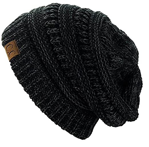 ecda0f21e59dfe C.C Trendy Warm Chunky Soft Stretch Cable Knit Beanie Skully (2 Tone  Black/Charcoal) at Amazon Women's Clothing store: