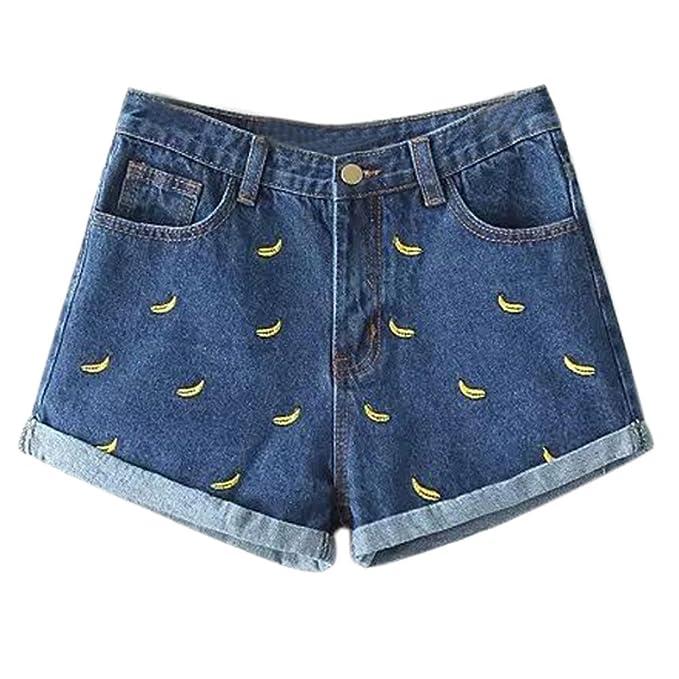 ef5017e7b7f12e Minetom Jeanshose Damen Shorts Denim High Waist Vintage Rose Hot Pants  Basic Kurz Hose Banane 1