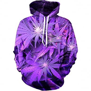 New Harajuku 3D Purple Weed Leaf Print Sweatshirt Fashion Hooded Sweatsuits Tops Large Size S-XXL at Amazon Mens Clothing store: