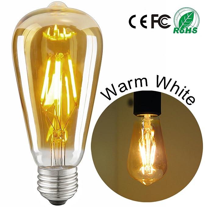 LHM Lampe LED E27Edison Ampoule ST644W équivalent 40W 220V blanc chaud (2700Kelvin) Rétro éclairage lumière d'économie d'énergie Ampoules Intensit&