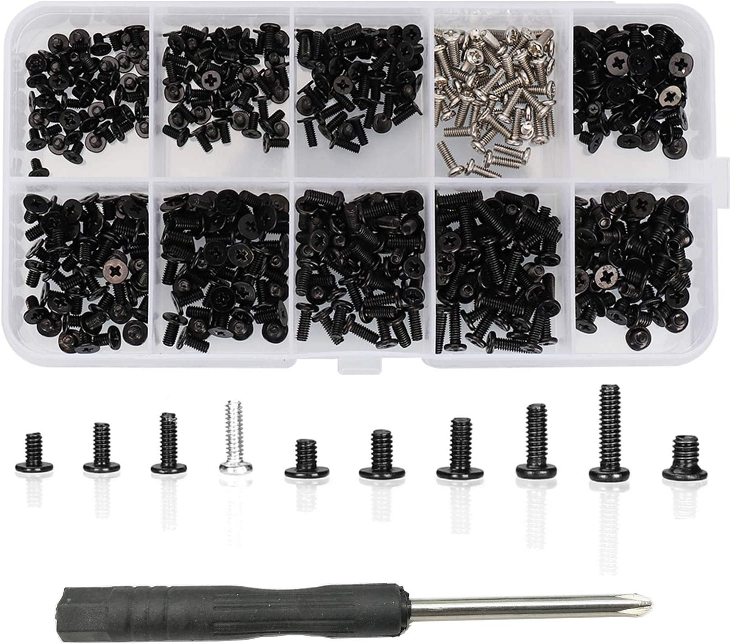 HanTof 500pcs M2 M2.5 M3 Laptop Notebook Computer Screw Kit Set with Screwdriver for IBM HP Dell Lenovo Samsung Sony Toshiba Gateway Acer