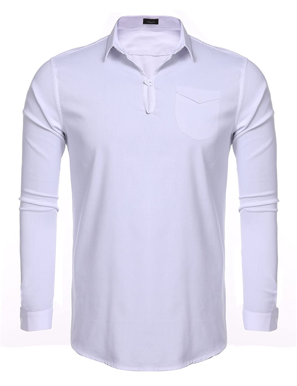 1960s Inspired Fashion: Recreate the Look Jinidu Mens Summer Linen Cotton Blend V-neck Yoga Beach Top Slim Fit Polo Shirt With Pocket $24.99 AT vintagedancer.com