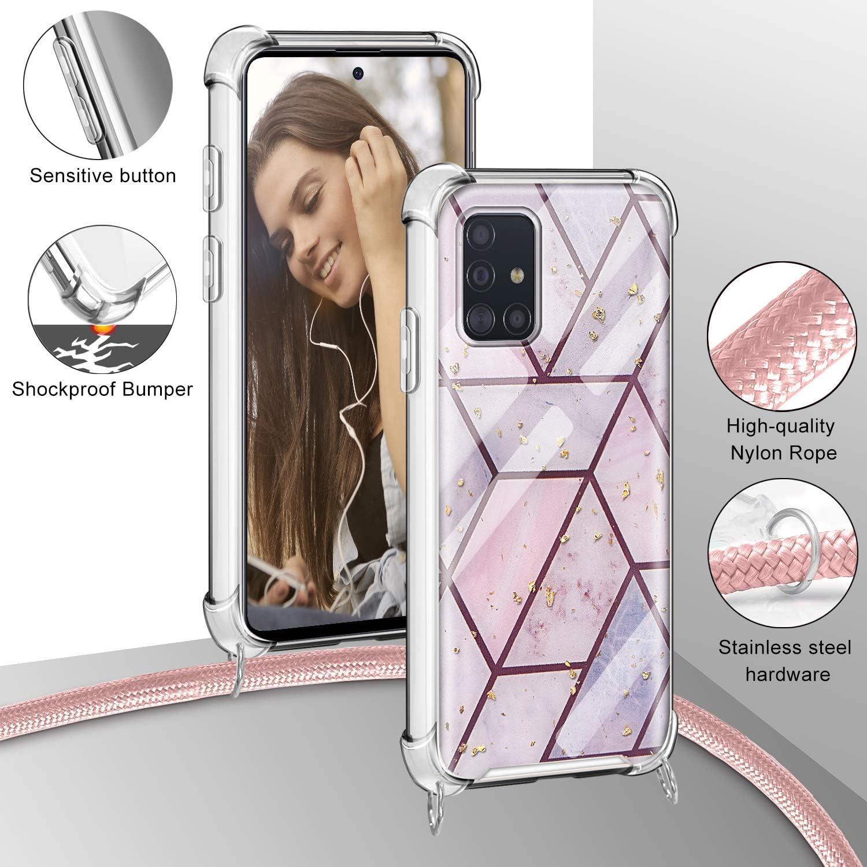 2ndSpring Funda con Cuerda Compatible con Samsung Galaxy A40,Colgante Collar Correa de Cuello Cadena Cord/ón,Rose Gold