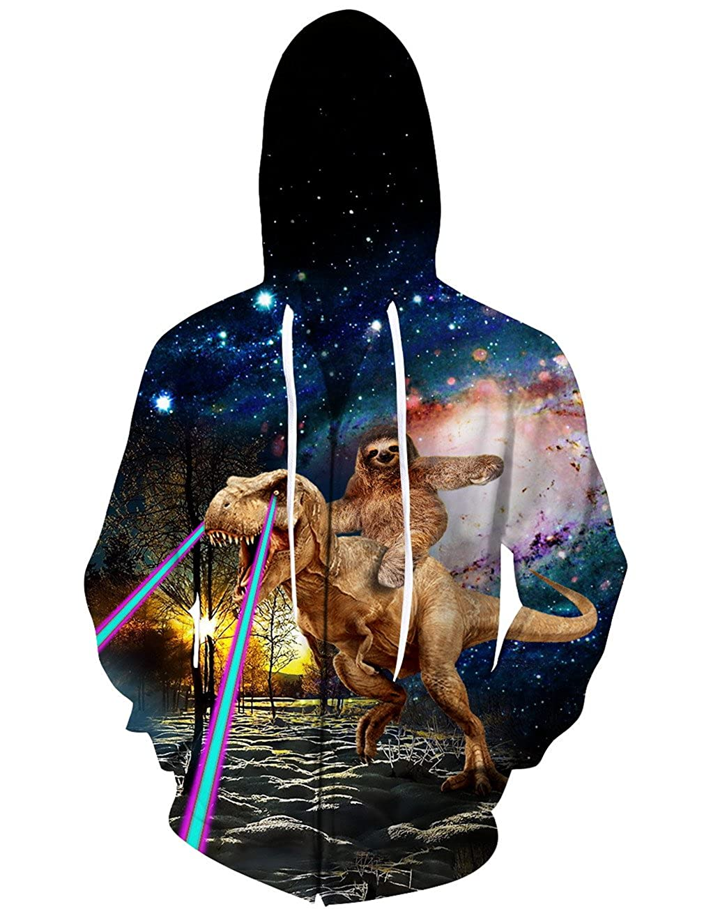 Qvfnaly Men Hoodies Sweatshirts 3D Print Zipper Cap Tops Men Hooded Nebula Jacket