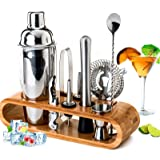 BRITOR Cocktail Shaker Set Bartender Kit,10-Piece Bar Tool Set with Bamboo Stand - Stainless Steel Bartender Set with…