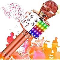 SunTop karaoke-microfoon, bluetooth, draadloos, multifunctionele luidspreker met gekleurd LED-licht, geïntegreerde…
