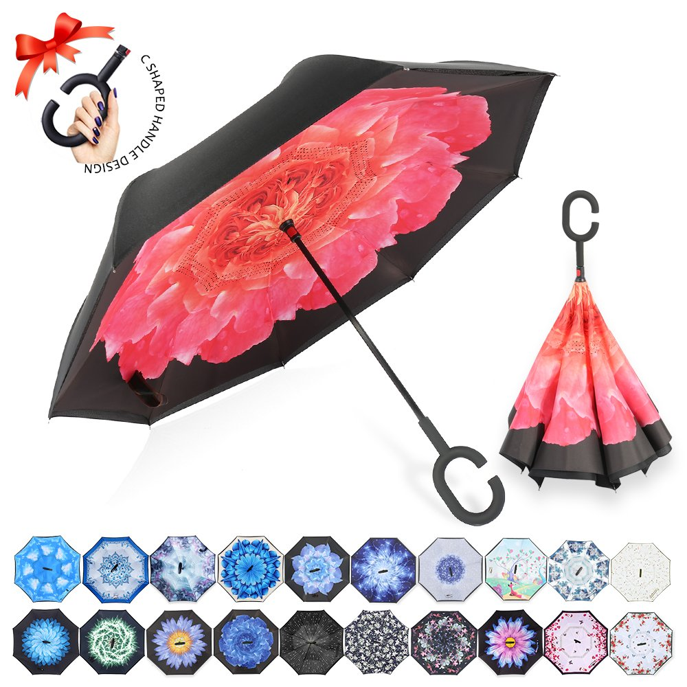 ZOMAKE Double Layer Inverted Umbrellas for Women, Reverse Folding Umbrella Windproof UV Protection Big Straight Umbrella for Car Rain Outdoor with C-Shaped Handle (Cornflower)