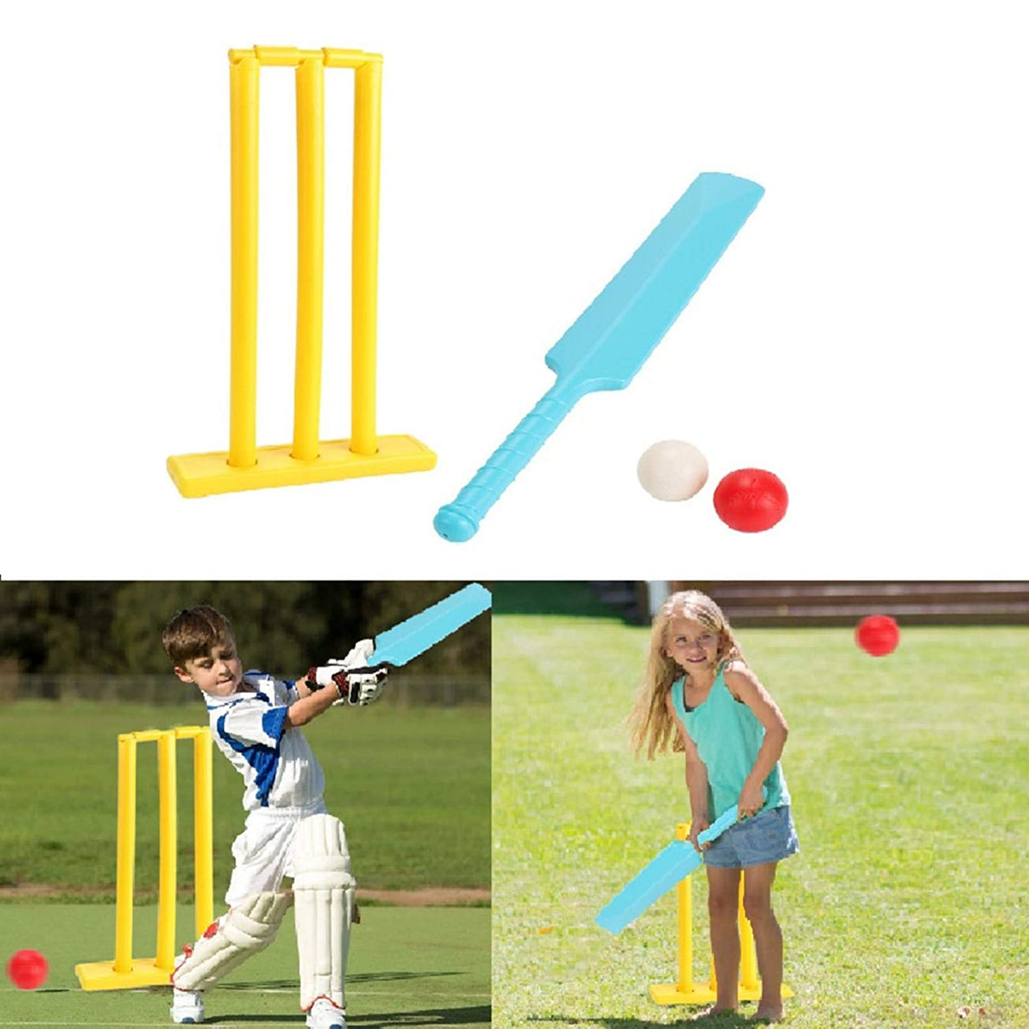 Kids Cricket Set, Cricket Bat and Ball Beach Wicket Stand Kit, Parent-Child Sports Interaction Hand-Eye Coordination Cultivation Sports Game for Backyard Lawn Playground