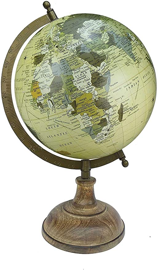 Home Decor 8 Surahi Designer Black Multicolour Brown Educational World Globe Antique Globe with Brass Antique Arc and Base Gift Item By Globes Hub Office Decor