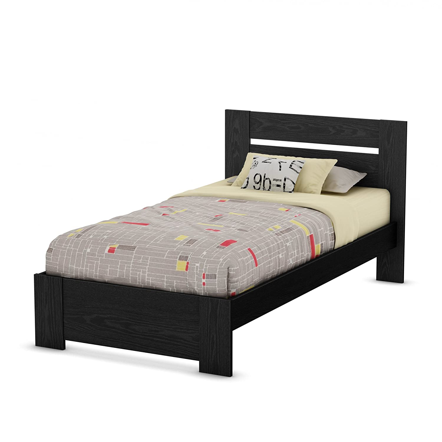Amazon.com: South Shore Flexible Collection Twin Bed, Black Oak ...