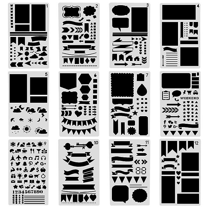 1 opinioni per Vitasemcepli Set di 12 Stencil agli Stili Diversi Adatta allo Scrapbooking /