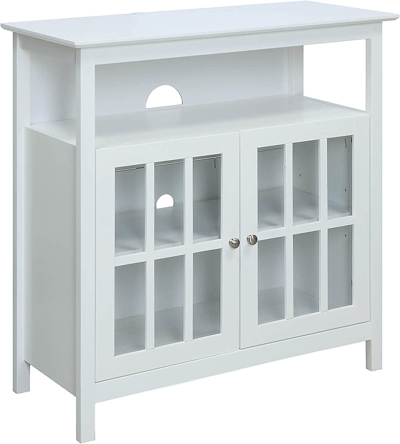 Convenience Concepts 8066070W Big Sur Highboy TV Stand, White