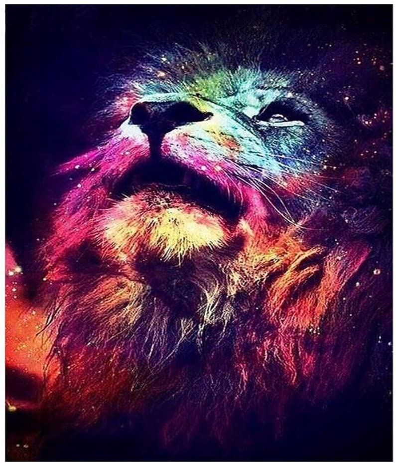 DIY 5D Diamond Painting Kits for Adults Full Drill Embroidery Paintings Rhinestone Pasted DIY Painting Cross Stitch Arts Crafts for Home Wall Decor 30x40cm/11.8×15.7Inches (Lion)