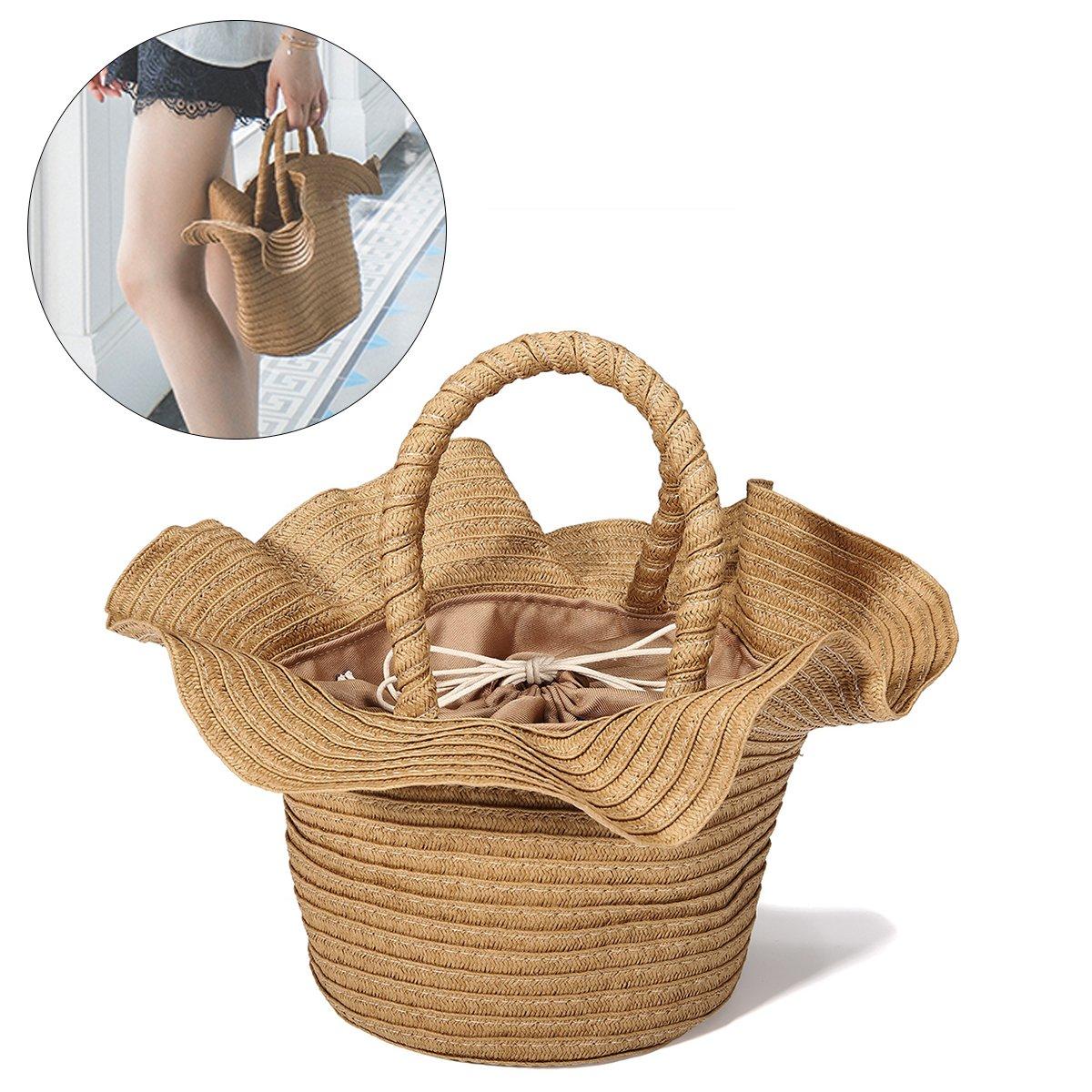 Straw Summer Beach Bags, JOSEKO Women Handbag Tote Fashion Shopper Basket Ladies Purse for Travel Coffee 7.08''x 5.9''(LxH)