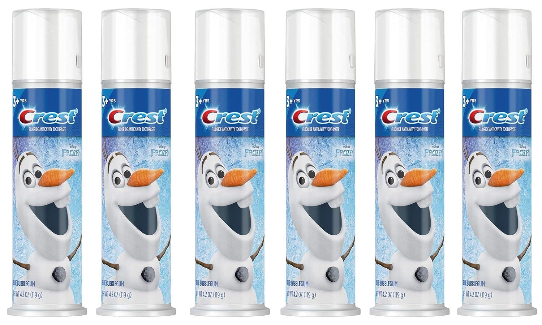 Crest Kid's Toothpaste, Disney's Frozen, Blue Bubblegum Flavor, 4.2 Ounce (Pack of 6)